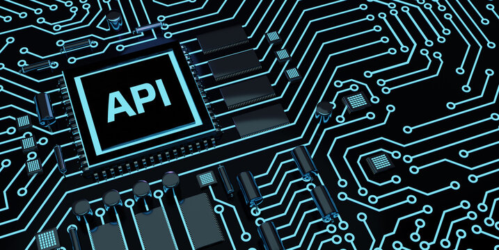 API - Application Programming Microchip.Interface. Software development tool. Business, modern technology, internet and networking concept.