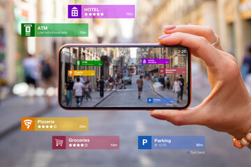 Fototapeta Concept of augmented reality technology being used in mobile phone for navigation and location based services obraz