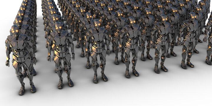 viele humanoide Roboter stehen in Reih und Glied