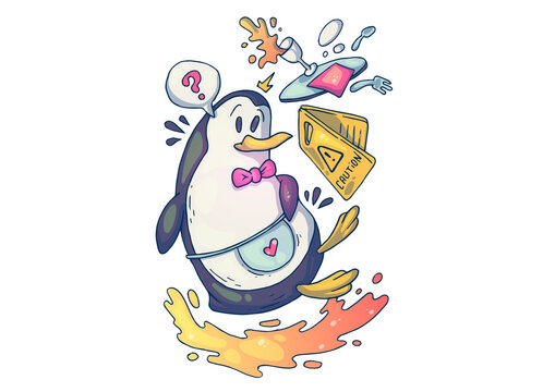 A clumsy penguin waiter. Creative cartoon illustration. Picture for print, advertising, applications and T-shirt print.