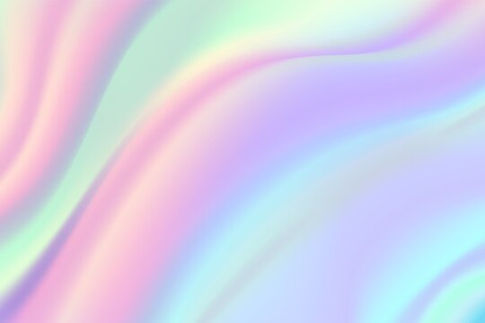 Iridescent foil background. Beautiful holographic texture, rainbow gradient unicorn pattern. Abstract surreal pink pastel vector illustration. Holographic gradient, rainbow light, colorful iridescent
