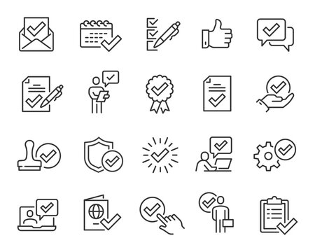 Approval and Check Marks Updated Icons Set. Collection of simple linear web icons such Approval of Files, Settings, Date, Person, Letters, Check Mark with Shield, Stamp, Documents and others. Editable