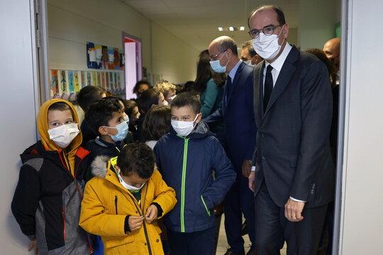 French Prime Minister Jean Castex attends homage to slain teacher Samuel Paty