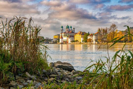 Passau city with Danube river at sunset, Bavaria, Germany