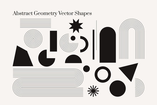 Abstract geometric shapes monochrome vector