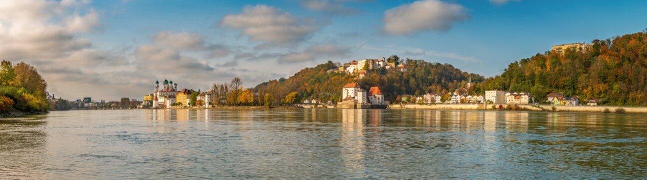 Passau city panorama with Danube river at sunset - Bavaria - Germany