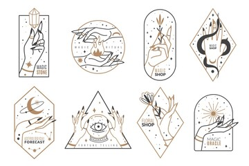 Obraz Occult line emblems. Outline women hands with mystical magic elements in minimalistic trendy style, witchcraft golden symbols and mysterious objects, elegant vector isolated collection - fototapety do salonu