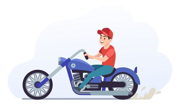 Man on motorcycle. Biker driving blue motorcycle, collectible classic vehicle for road racing, speed race vintage moped travel and sport vector illustration cartoon on white background