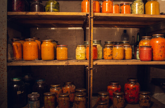 Photo of canned vegetables, in the old cellar