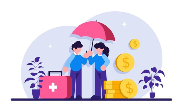 Emergency support fund concept. Mortgage relief program, student loan deferred payment, emergency response support fund, government help abstract metaphor. Modern flat illustration.
