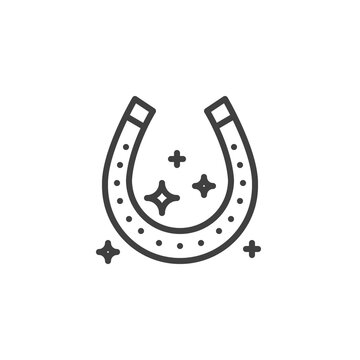 Luck horseshoe line icon. linear style sign for mobile concept and web design. Horseshoe with magic stars outline vector icon. Symbol, logo illustration. Vector graphics