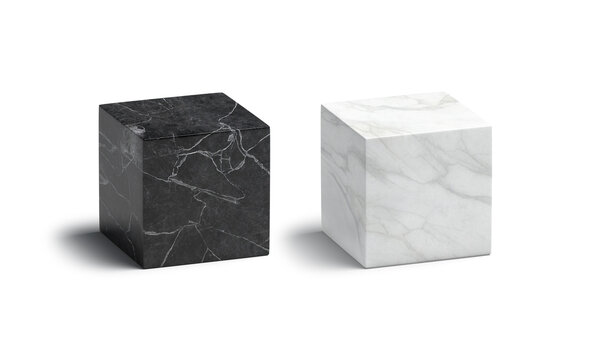 Blank marble black and white cube mockup set