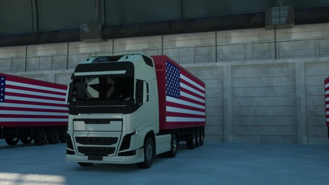 Semi-trailer trucks load or unload at warehouse bays with flag of the USA. 3d rendering