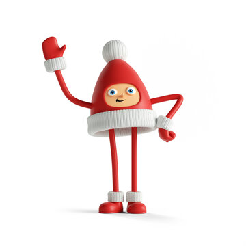3d render, cute little santa helper. Red cap with face hands and legs mascot. Christmas toy clip art isolated on white background.