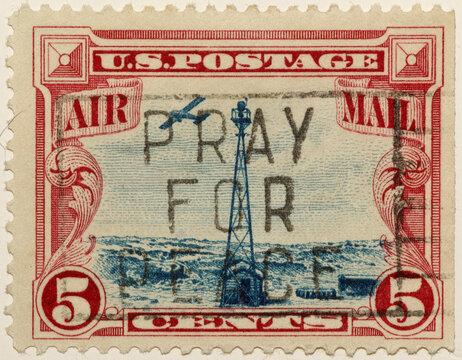 Vintage US Airmaail Stamp for background