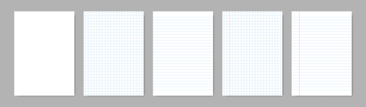 Paper blank sheets with lines. Vector isolated papers a4 with lines grid. Grid page notebook with margin. Mockup papers template. Stock vector.
