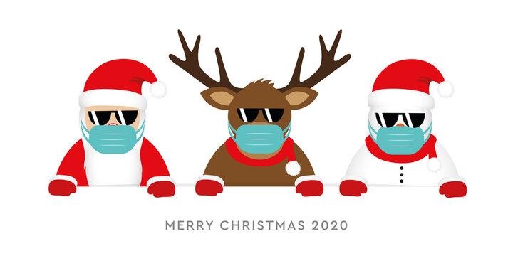 corona virus christmas 2020 design with cute deer santa claus and snowman cartoon vector illustration EPS10