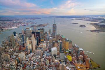Wall Mural - Aerial view of Manhattan skyline at sunset, New York City