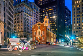 Wall Mural - Boston Old State House buiding at night in Massachusetts USA