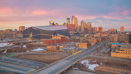 Wall Mural - Cityscape of Minneapolis downtown skyline in Minnesota, USA