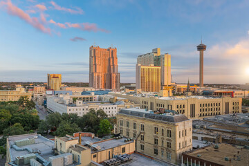 Wall Mural - Cityscape of  downtown San Antonio in Texas, USA