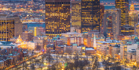 Wall Mural - Aerial view of Boston skyline and Boston Common park in Massachusetts, USA  in winter