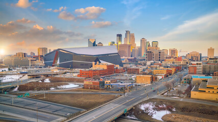 Cityscape of Minneapolis downtown skyline in Minnesota, USA Fotomurales