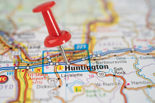 Bangkok, Thailand, June 1, 2020 Huntington, West Virginia, road map with red pushpin, city in the United States of America USA.