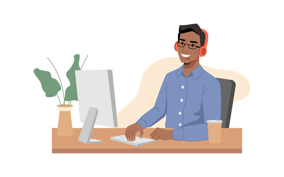 Call center, afro american guy operator smiles in headphones with microphone and type on keyboard. Vector online customer service support center, worker sitting at table and communicating via computer