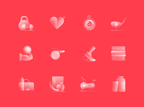 Sports and Fitness Related Alpha Icons Set