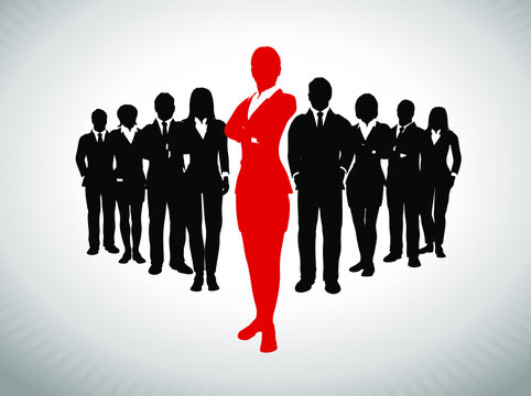 Bold Female Leader in front of large team of successful executives. A large team of successful executives in silhouettes led by a great bold Female leader in red who stands in front of them.