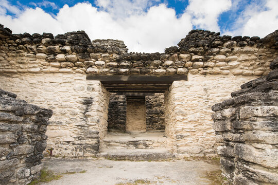 The stone structure at the top of the Mayan temple of Kinichna in Quintana Roo, Mexico
