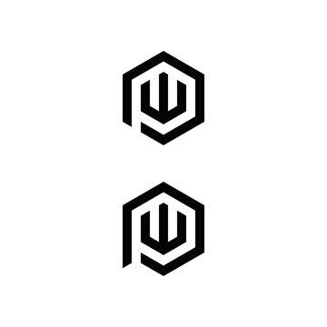 p w pw wp initial logo design vector graphic idea creative