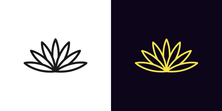 Outline lotus flower icon. Linear lotus symbol with editable stroke, water lily