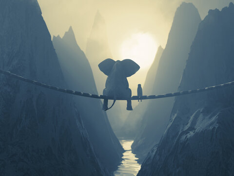 Elephant and Dog sit on a bridge over a precipice