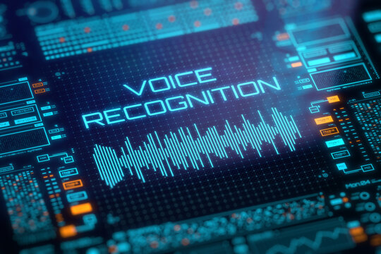 Concept of voice recognition, speech detect, virtual assistant and deep learning. Soundwave icon on digital lcd display with reflection. 3D rendering.
