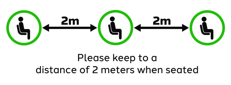 Seating Guidelines for public places. Pictogram to encourage people to maintain physical or social distance of 2 meters to curb to spread of COVID-19.