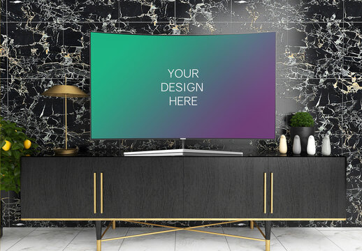 Tv Screen Mockup with Black Elegant Interior Front View
