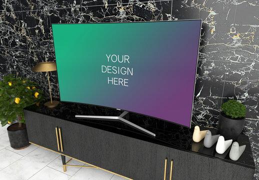 Tv Screen Mockup with Black Elegant Interior Side View