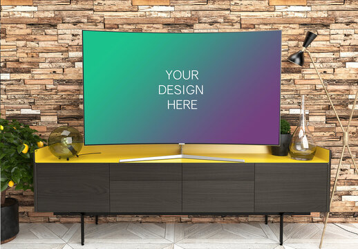 Tv Screen Mockup with Contemporary Interior Front View