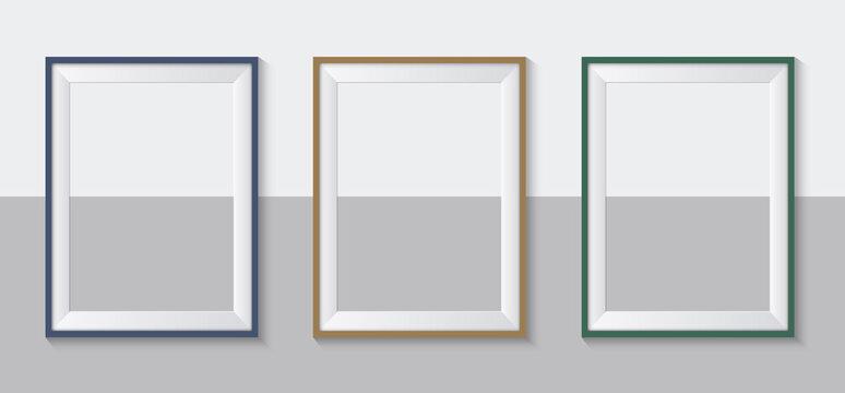 Set of frames on wall. Galery mock up. Modern photo frames. Vector