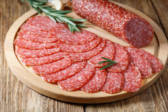 Salami sausage - a type of hard cured sausage made from fermented and dried meat