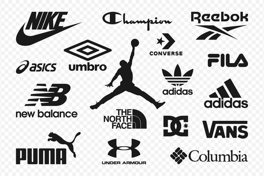 Top clothing brands logos. Set of most popular logo - NIKE, Adidas, Reebok, Puma, New Balance, Under Armour, The North Face, Jordan, Columbia, Converse, Vans, Asics and others. Editorial vector.