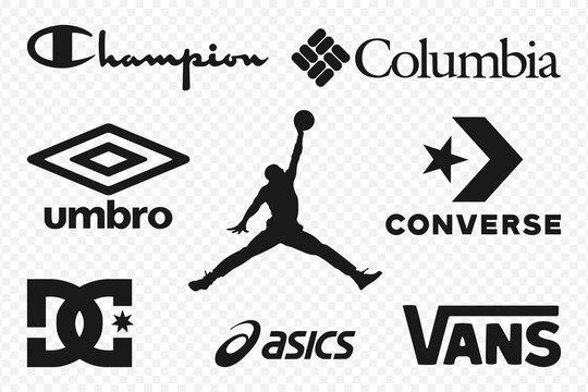 Top clothing brands logos. Set of most popular logo - Jordan, Columbia, Champion, Converse, Umbro, Vans, Asics, DC Shoes. Editorial vector illustration.