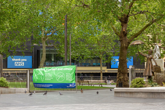 London, UK, 2020: Almost empty Leicester Square during Lockdown