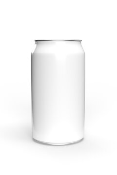 Mockup of a white beverage can - copy space - 3d render