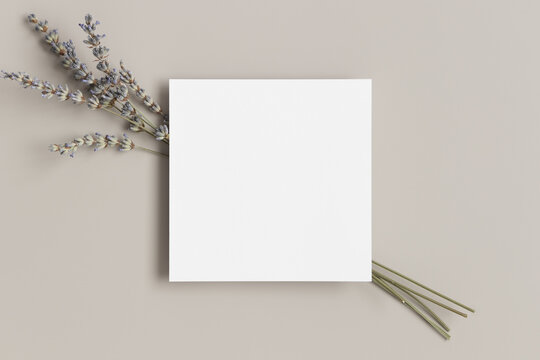 Square invitation card mockup with a bouquet of a lavender.