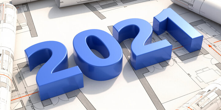 New year 2021 blue number on construction project blueprint. 3d illustration
