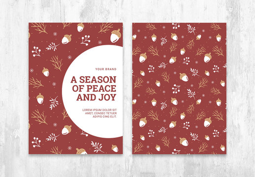 Christmas Card Flyer Layout with Rustic Fall Pattern