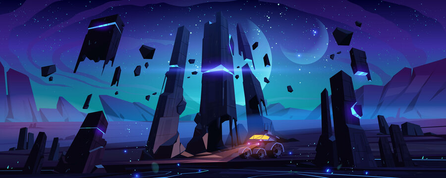 Explorer robot on alien planet surface at night. Vector cartoon futuristic landscape of planet with rocks and cosmos with moons and stars. Space illustration with exploration machine